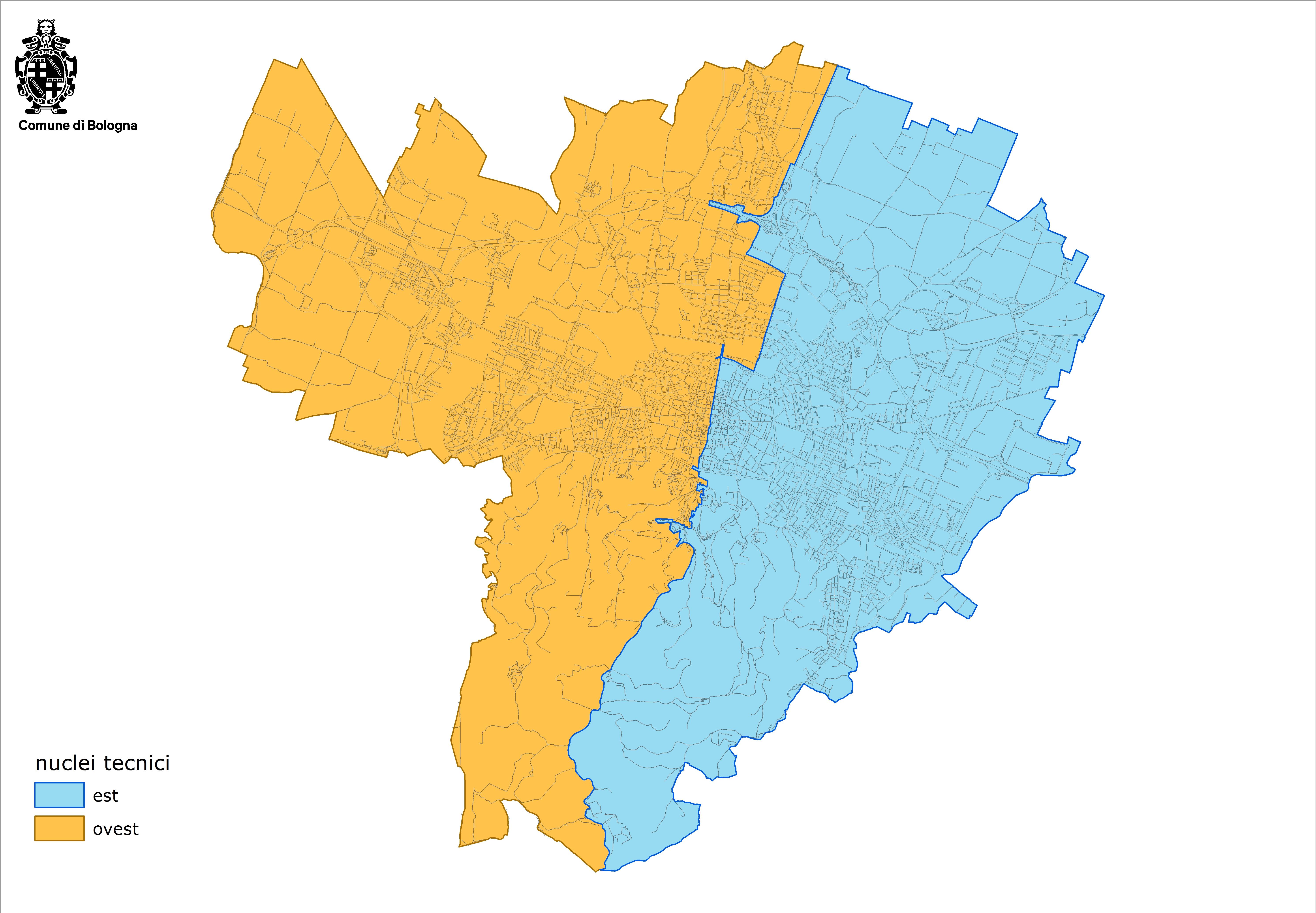 Visualizzazione mappa nuclei est ovest